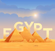 Pyramids of Egypt. The letters on the background of the Egyptian pyramids. Pyramid of Cheops in Cairo, in Giza. Vector illustration