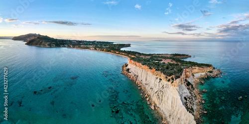 Obraz na plátně Gerakas beach and rocky cliffs in Zakynthos, aerial view