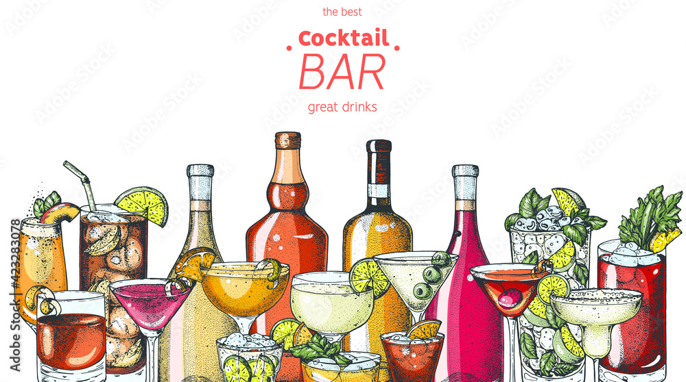 Fototapeta Alcoholic cocktail. Hand drawn vector illustration. Hand drawn drinks illustration. Cocktails set. Menu design elements. - obraz na płótnie