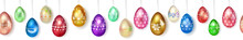 Banner Made Of Realistic Hanging Easter Eggs In Various Colors With Holiday Symbols, Glares And Shadows On White Background With Seamless Horizontal Repetition