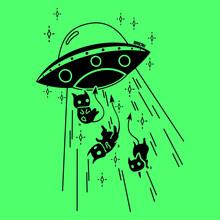 Cartoon UFO Abduction Black And White Cat- Vector Art Illustration