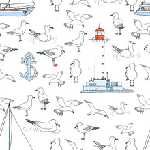 Hand Drawn Summer Seaside Seamless Pattern. Marine Print In Cartoon Style. Sketch Gull, Seabird, Flying Seagull , Lighthouse, Anchor, Yacht . Doodle Vector Illustration. Sea, Ocean, Beach, Sail