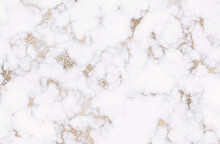 Gold Marble. Luxurious White And Silver Texture Background. Vector. Panoramic Marble Texture Design For Banner, Invitation, Wallpaper, Headers, Website, Print Advertisement, Packaging