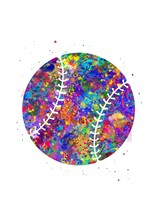 Baseball Ball Watercolor Art, Abstract Painting. Sport Art Print, Watercolor Illustration Rainbow, Colorful, Decoration Wall Art.