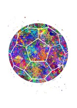 Soccer Ball Watercolor Art, Abstract Painting. Sport Art Print, Watercolor Illustration Rainbow, Colorful, Decoration Wall Art.