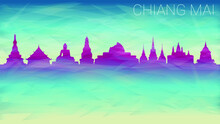 Chiang Mai Thailand City Skyline Vector Silhouette. Broken Glass Abstract Geometric Dynamic Textured. Banner Background. Colorful Shape Composition.