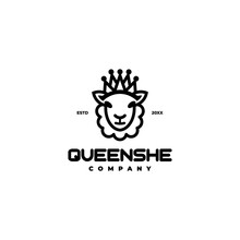 Sheep Queen With Crown Logo Icon Vector Template