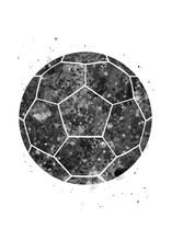 Soccer Ball Black And White Watercolor Art, Abstract Sport Painting. Ball Art Print, Watercolor Illustration Rainbow, Greyscale, Decoration Wall Art.