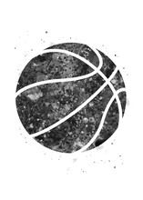 Basketball Ball Black And White Watercolor Art, Abstract Sport Painting. Ball Art Print, Watercolor Illustration Rainbow, Greyscale, Decoration Wall Art.