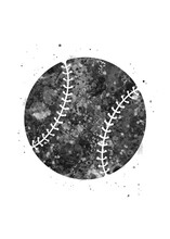 Baseball Ball Black And White Watercolor Art, Abstract Sport Painting. Ball Art Print, Watercolor Illustration Rainbow, Greyscale, Decoration Wall Art.