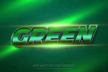Text Effect In 3d Green Metallic Words, Font Styles Theme Editable Realistic Metal Gradient With Flare Light Concept