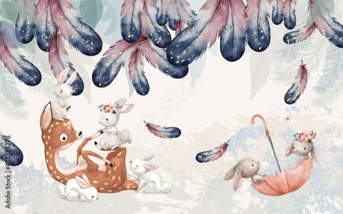 Obraz hand drawn feathers and animals deer and bunny - fototapety do salonu
