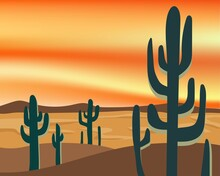 Desert And Cactus Landscape With Sunset