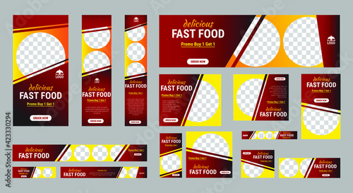 Fototapeta Set of fast foods web banners of standard size with a place for photos. Vertical, horizontal and square template. Vector illustration EPS 10 obraz
