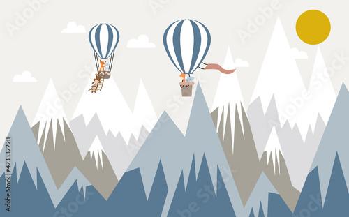 Obraz Children's wallpaper. Animals on balloons against the background of mountains. - fototapety do salonu