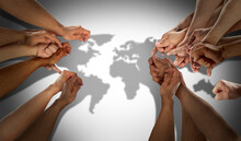 World Population Concept As Diverse International Community And Earth Diversity With People Working Together United For Global Togetherness