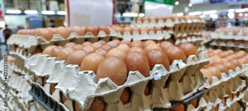 Fototapeta Chicken eggs in the market obraz