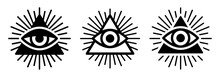 All Seeing Eye, Illuminati Symbol In Triangle With Light Ray Vector Illustration.