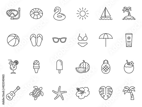 Obraz Summer beach item vector icon 夏のビーチアイコンセット - fototapety do salonu