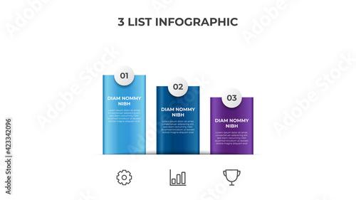 Canvas Print Descending list diagram with 3 points of steps, infographic element layout templ