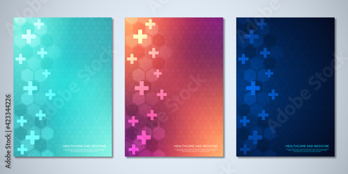 Obraz Template brochure or cover book, page layout, flyer design with hexagons pattern, and crosses. Concept and idea for health care business, innovation medicine, pharmacy, technology. - fototapety do salonu