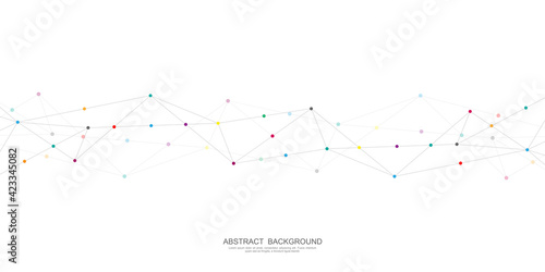 Fototapeta Abstract polygonal background with connecting dots and lines. Global network connection, digital technology and communication concept obraz