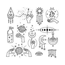 Set Of Mystical Astrological Vector Illustrations. Magic Symbols. Zodiac. Astronomy. Line Art Illustrations.