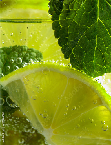 Obraz Carbonated drink with mint and lime slices. - fototapety do salonu