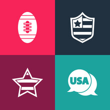 Set Pop Art USA Label, Independence Day, Shield With Stars And American Football Ball Icon. Vector