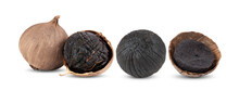 Black Garlic Bulbs On White Background