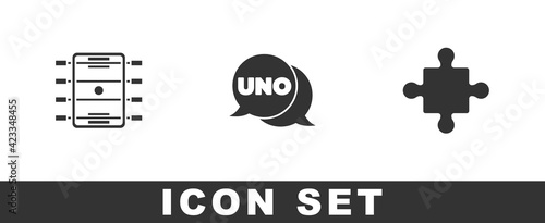 Платно Set Hockey table, Uno card game and Puzzle pieces toy icon