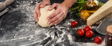 Woman Kneading Dough For Pizza Baking