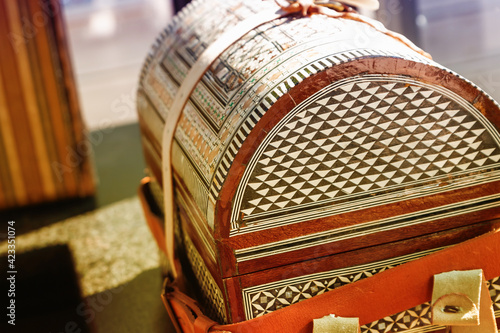 Fototapeta Wooden inlaid chest, large casket road side view