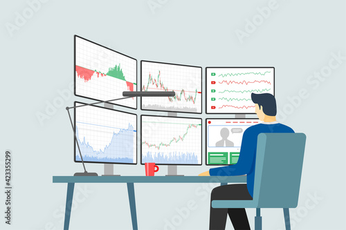 Fotografering Stock market trader at workplace looking at multiple computer screens with financial charts, diagrams and graphs