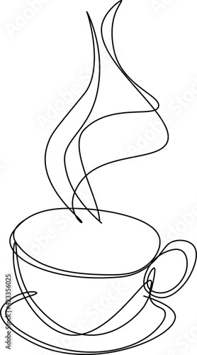Leinwand Poster pencil drawn coffee cup, line art