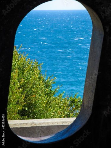 Sea view from a previous armored machine gun shelter Wallpaper Mural