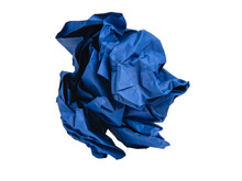Bright Crumpled Paper Blue Color Isolated On The White Background