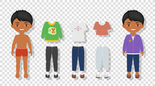Paper Doll Template On Transparent Background. Dress Up Cute Indian Boy. Cartoon Flat Style