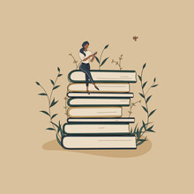 Concept:book Is Source Of Knowledge.Tiny African Woman Sitting On Stack Of Books And Reading Book.Pile Of Volumes Surrounded By Plants As Symbol Of Education.For Library Or Bookstore.Hand Drawn Raster