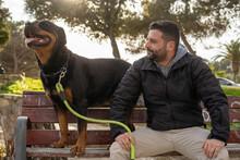 Un Dia Soleado De Paseo Por El Parque Con Mi Rottweiler Negro Y Fuego