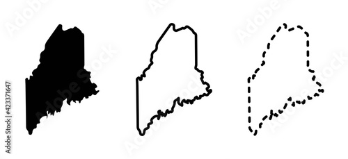 Maine state isolated on a white background, USA map