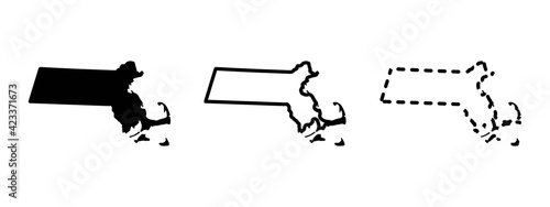 Obraz na plátně Massachusetts state isolated on a white background, USA map