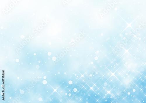 Fototapeta 雨と雲とキラキラ 背景イラスト素材(水色) obraz