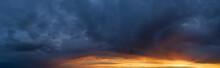 Beautiful Cloud In The Sunrise Sky Background. Sky Banners Background. Natural Background Of The Colorful Panorama Sky.