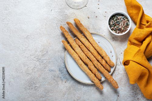 Fototapeta Italian bread sticks grissini obraz