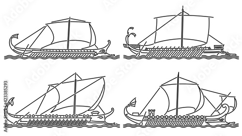 Fotografia Set of simple vector images of sailing ships of antiquity (Ancient Rome) trireme and bireme drawn in art line style