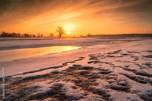 Fototapeta Zimowy wschód słońca obraz