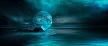 Futuristic Fantasy Night Landscape With Abstract Landscape And Island, Moonlight, Shine, Moon. Dark Natural Scene With Reflection Of Light In The Water, Neon Blue Light. Dark Neon Circle Background.