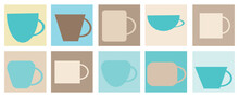 Set Of Cups For Coffee And Tea, Vector Drawing In Cartoon Style. Icons For Web Screensavers.