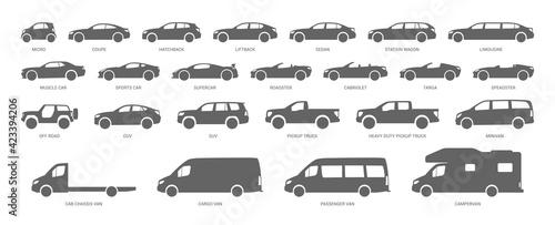 Fotografija Car body types. Different vehicles. Vector illustration